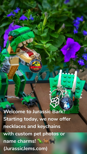 Welcome to Jurassic Bark? Starting today, we now offer necklaces and keychains with custom pet photos or name charms! 🦖🐕🐈⬛ (JurassicJems.com)